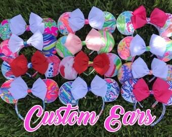 CUSTOM Fabric and Color Bow Preppy Minnie Park Disney Ears Lilly  Fabric