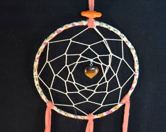 Dream Catcher with Tigers Eye heart crystal made with vintage recycled materials and Cruelty Free Feathers