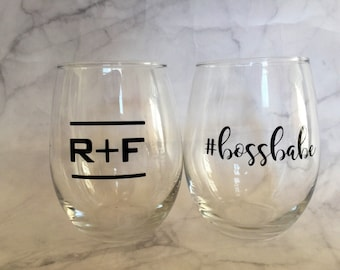 Rodan and Fields inspired Wine Glass, Boss Babe #bossbabe R + F Up line, promotions, Rodan and Fields RF PC