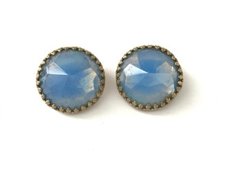 Vintage Periwinkle Opal Blue Hattie Carnegie Clip On Earrings