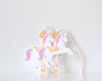 Unicorn Carousel Tags: Merry go round style tags witha magical touch, pink purple & gold, glitter, birthday tags, spaarkle unicorn-LRD027TG