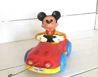 1973 Kohner Mickey Mouse vintage pull toy -Disney -Walt Disney -antique