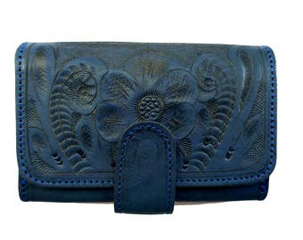 Women Handmade Tooled Genuine Cowhide Leather Wallet. Bifold.  BLUE