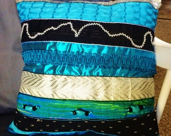 One of a Kind, Decorative Pillow, Crazy Quilt style, 12x12, Turquoise Blue, Black, White, Silver, Pillow #11