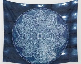 Deep Blue Mandala Shibori Tye Dye Tapestry Wall Hanging Meditation Yoga Grunge Hippie