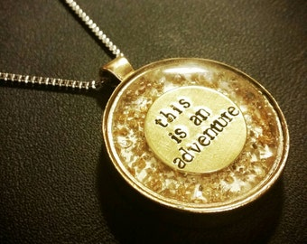 This Is An Adventure resin+metal stamped pendant necklace