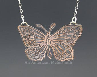 Etched Butterfly Necklace, Copper Butterfly Necklace, Butterfly Jewelry, Insect Jewelry, Boho Jewelry, Silver Necklace, Mixed Metal Jewelry