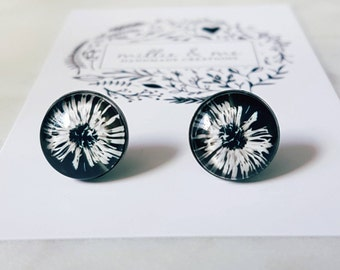 Stainless steel and glass cabochon stud earrings