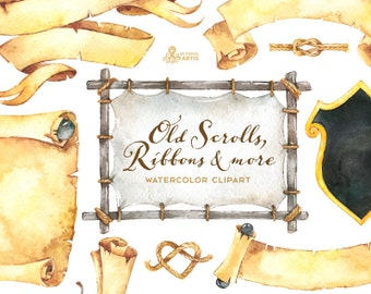 Old Scrolls, Banners, ribbons, knots and more. Clipart, ancient, pirate, paper, handpainted, treasure, vintage, clip art, separate png, diy