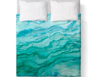 Agate Teal Blue Green Abstract Duvet Cover/ Comforter cover/ KING, QUEEN, TWIN /bedding/Turquiose Ombre Duvet Cover