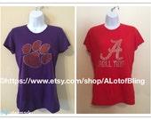 "Sale - 5 dollars off Clemson Tigers or Alabama ""Roll Tide"" Rhinestone T-Shirts"