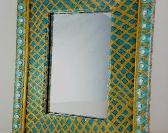 "Boho Mirror -Turquoise and Gold  Mirror - 7.5 x 9.5"" - Frame 4 x 6"" Mirror"
