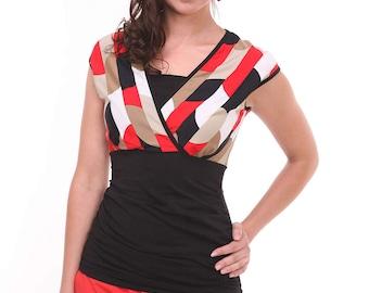 Breastfeeding Top, Nursing Top, Maternity Top, Striped Nursing Tops for Breastfeeding, Nursing Clothes, Black Red Breastfeeding Clothes