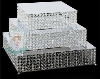 FAST Shipping!! Crystal Square Cake Stand, 3 pc Set