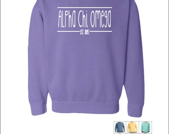 Alpha Chi Omega  // A Chi O // Sorority Comfort Color (Skinny Latte)  Sweatshirt // Choose Your Color
