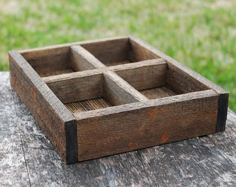 Divided Mini Rustic Serving Tray (Rustic Shown), Ottoman Tray, Wooden Tray, Serving Tray, Coffee Table Tray, Cocktail Tray, Farm Tray