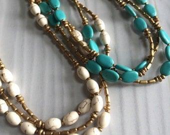 Multi strand beaded necklace, stone beaded necklace, blue beaded necklace, white beaded necklace