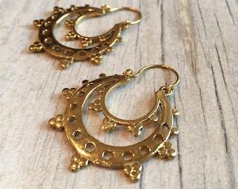 Brass abstract earrings, ethnic look hoops, ethnic brass earrings, earthy look earrings, brass ethnic hoops