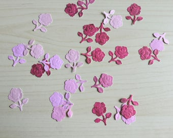 Rose confetti, flower paper punches, wedding confetti, party decor, table decor, pink roses