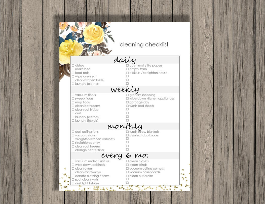 This is a picture of Divine Daily Weekly Monthly Cleaning Checklist Printable
