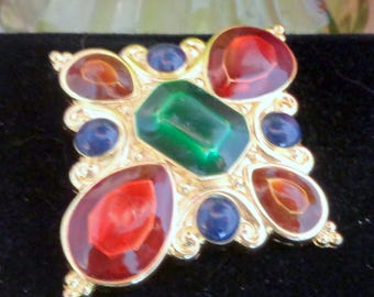 Use Coupon 10OFF JAY STRONGWATER Scarf Pin that is Gold Plated with Colored Rhinestones 2 x 2 Long
