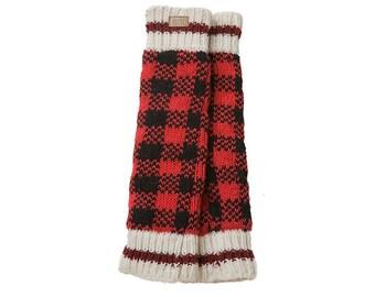 Checkered Wool Leg Warmers, Fleece Lined