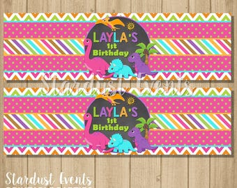 Girl Dinosaur Water Bottle Labels, Dinosaur Water Labels