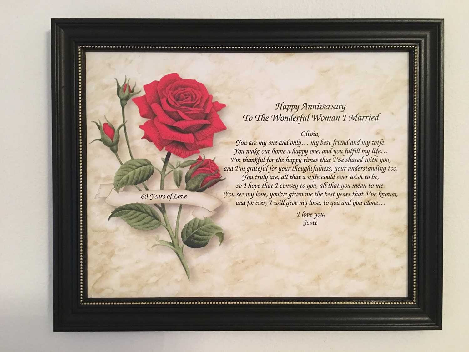 60 Years Wedding Anniversary Gifts: 60th Anniversary Gift For Wife Love Poem Personalized