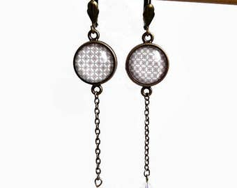 Earrings dangling marriage * Clea * white grey Pearl bead graphic, cabochon glass