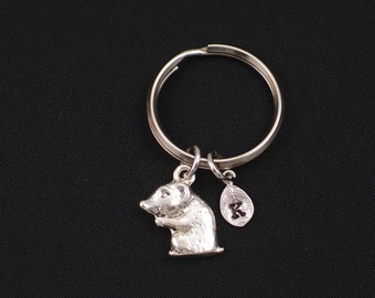 tiny hamster keychain, initial keychain, silver hamster keyring, cute hamster charm, animal,children jewelry,pet memorial keychain,christmas