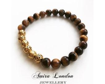 Tigers eye bracelet,gemstone beads, Tibetan gold beads,mens bracelet,yoga bracelet,meditation bracelet,gift for him,gift for boyfriend,