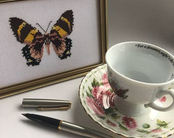 Cross Stitch Butterfly/Moth in Golden Frame
