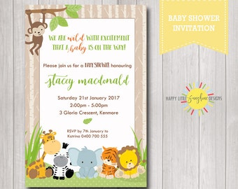 Printable Custom Baby Shower Invitation Neutral Boy or Girl Safari Jungle Animals Baby