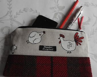 Harris Tweed Chicken Hen Pencil Case