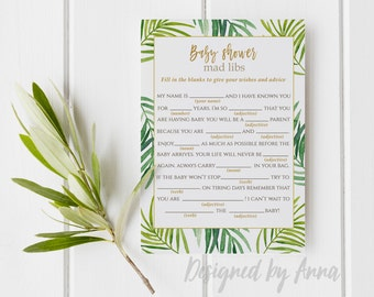 Botanical baby shower mad libs game printable mad libs game instant download baby shower mad libs games tropical printable  party green