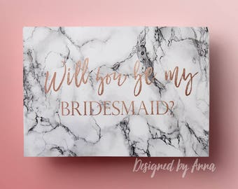 Printable will you be my bridesmaid card rose gold will you be my maid of honor marble gold foil will you be my bridesmaid rose gold foil