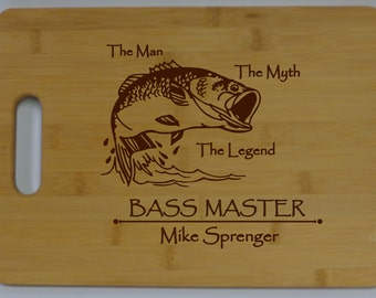 Personalized Hunter-Fisherman Bamboo Cutting Board Laser Engraved Buck or Bass Master Gift