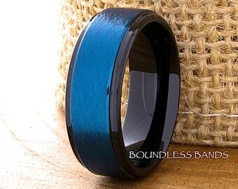 Wedding Ring Tungsten Ring Mens Wedding Ring Blue Tungsten Ring 8mm Wedding Tungsten Ring Custom Made Ring Personalized Ring Free Engraving