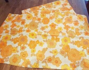 Vintage pillowcases floral orange pillowcases unused pair. Vintage bedding. Vw campervan.  Caravan