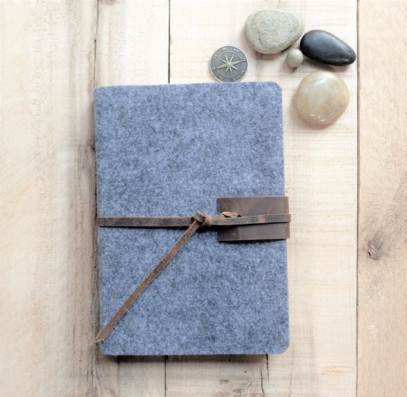 Wool & Leather Journal, Gray, Monogrammed, Distressed Rustic Leather Tie, Lined, Blank, Sketchbook, Personalized, Custom Made, Gift for Him