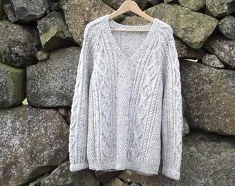 Hand knit V necked mans Aran jumper