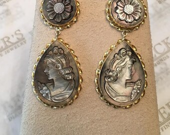 Large vintage pair of 14k yellow gold Carved Silver Grey Mother Of Pearl Cameo Drop Dangle Earrings with Carved Flower Tops, posts & backs