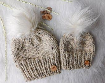 Mommy and Me matching hats. Mom and son hats. Mom and daughter hats. Ivory poms. Hats with faux pom.RTS