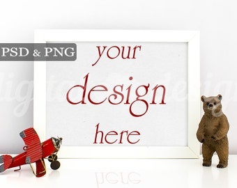 Styled Stock Photography Boy Room Bear Airplane Horizontal Mockup Download Nursery Frame Empty Art Frame Product Digital Background Photo
