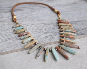 Ocean jasper necklace, gemstone necklace, blue statement necklace, leather bib necklace, jasper statement necklace, gemstone slate bib