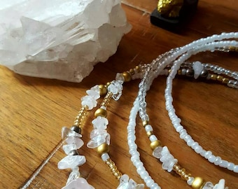 Kundalini Energy Moonstone and Clear Quartz Waistbead