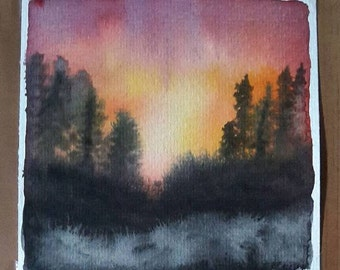 Watercolour sunset behind the mountain