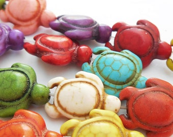 25% OFF!! 14 - Herd of Turtles 18x14mm, Dyed Magnasite Stone Beads, Monkeyshine Beads