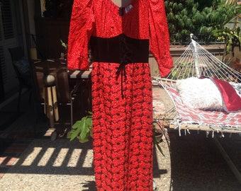 Hippie dress w/ red poppies