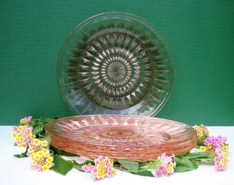 Pink Depression Glass - Set of 4 Dinner Plates - Windsor Pattern by Jeannette Glass